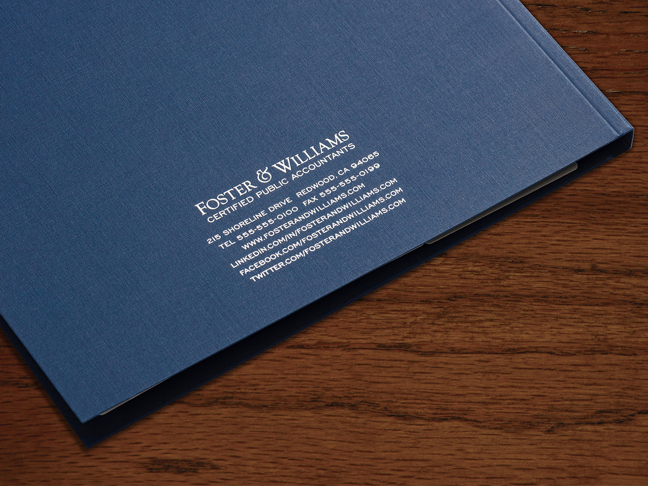 Branded Folders with Back Cover Imprinting Example