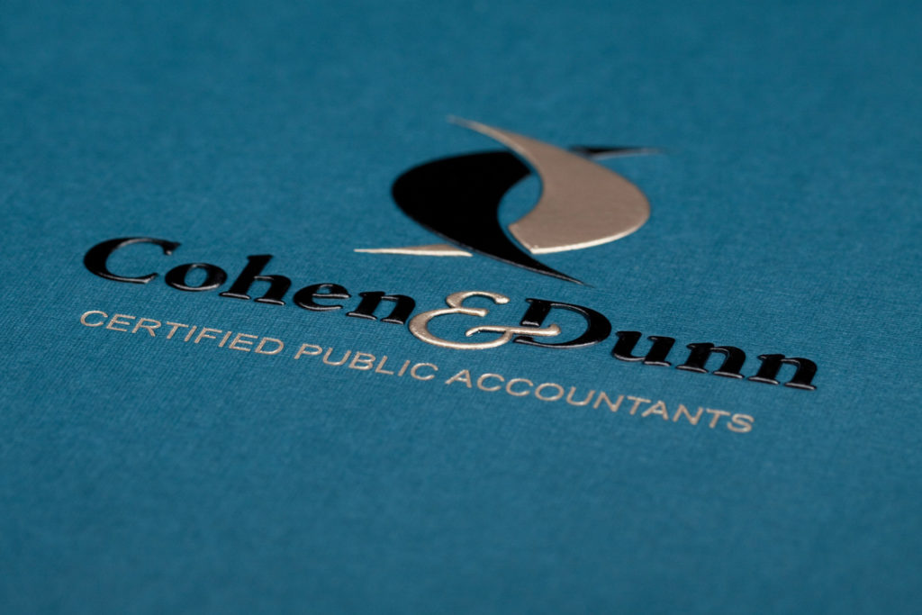 teal cpa folder with logo